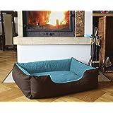BedDog colchón para perro LUPI S hasta XXL, 24 colores, cama para perro, sofá para perro, cesta para perro, S marrón/azul