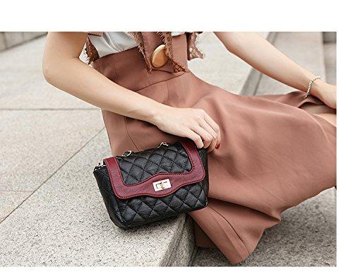 klxeb Pakete Pakete Argyle Kette Paket Buchse Tasche Single Schulter Oblique cross-small Pakete Shopping Quadratischer Querschnitt im lieferumfang enthalten, Schwarz