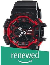 (Renewed) SKMEI Analog-Digital Black Dial Men's Watch - AD1117 (BLK- RED)