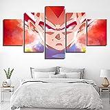WLQQ Leinwanddrucke 5 Panel Wanddekoration Kunstmalerei Auf Leinwand drucken Vegeta Son-Goku Das Bild Dragon Ball Plakat für Wohnkultur Geschenk,A,30x40x2+30x60x2+30x80cmx1