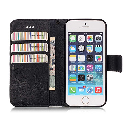 iPhone Case Cover IPhone 5 5S SE 6 6S Plus Fall, Prägung Schmetterling PU Leder Schutzhülle Schmetterling Blume Flip Stand Brieftasche Fall Deckung für IPhone 5 5S SE 6 6S Plus ( Color : Gray , Size : Black