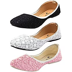 Thari Choice Woman and Girls Flat Belly shoes (Pack of 3) (Ind/Uk-7 (Eu-40), Black+Pink+White)………. SKU : NTT-40