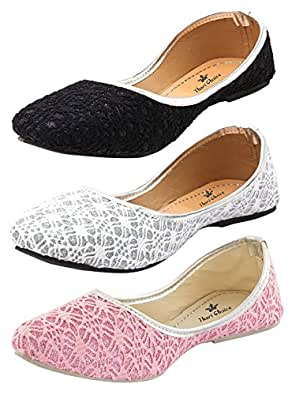 Thari Choice Women's Multicolour Synthetic Flat Bellies - 4, Pack of 3