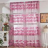 TianranRT 1 PCS Blätter Tüll Tür Fenster Vorhang Vorhang Platte Gardine Schal Schabracken (Rosa)