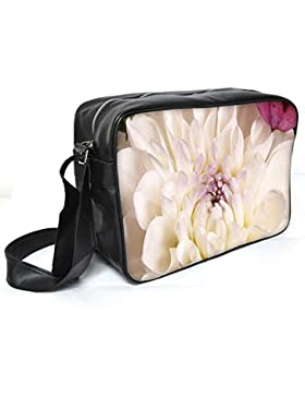 Snoogg Dahlia Weiß Blumen Leder Unisex Messenger Bag für College Schule täglichen Gebrauch Tasche Material PU
