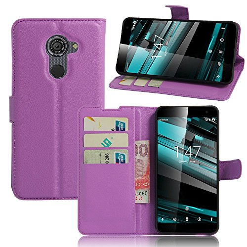 Tasche für Vodafone Smart Platinum 7 Hülle, Ycloud PU Ledertasche Flip Cover Wallet Case Handyhülle mit Stand Function Credit Card Slots Bookstyle Purse Design lila
