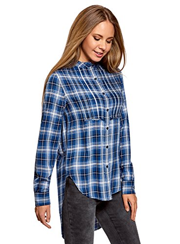 oodji Ultra Mujer Blusa de Viscosa con Espalda Larga, Azul, ES 44 / XL