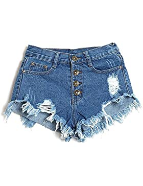 jeans donne - SODIAL(R)Vita alta jeans del foro brevi jeans Pantaloncini di jeans donne dell'annata (28/ M, Blu 1)