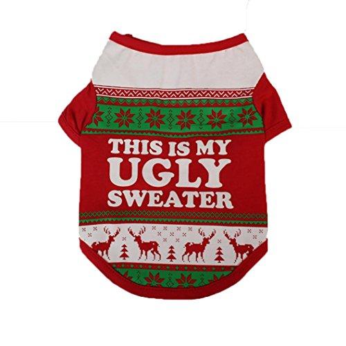 Nette Hund Kapuzenpulli Kleidung, Hmeng Haustier Katze T Shirt Polyester Sweatshirt Weihnachtsmuster Westen Hoodies Kostüm (S, Rot) (Hund Cowboy Kostüme)