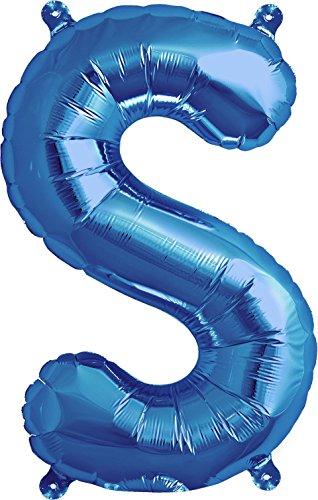 nballon | Folienballon | Buchstaben-Luftballon (S, Blau, 41cm) (Blaue Buchstaben)