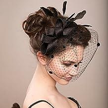 Tocado Veewon elegante con plumas y velo de malla con clip para mujer