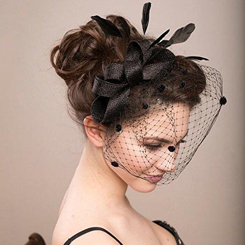 Veewon Damen elegante Bowknot Feder Hochzeit Cocktail Party Schleier Fascinator Haar Clip Hut Mesh Net (Schwarz)