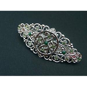 Irland Haarspange mit keltischen Knoten in grün silber