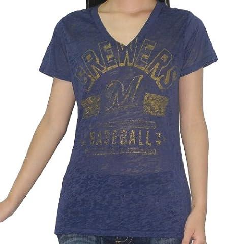 MLB Milwaukee Brewers Damen V-Neck T-Shirt (Vintage Look) XL Dark Blue