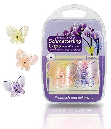 6 Stück Klammern Clips für Orchideen Schmetterling bunt Blütenstängel im Blisterpack -