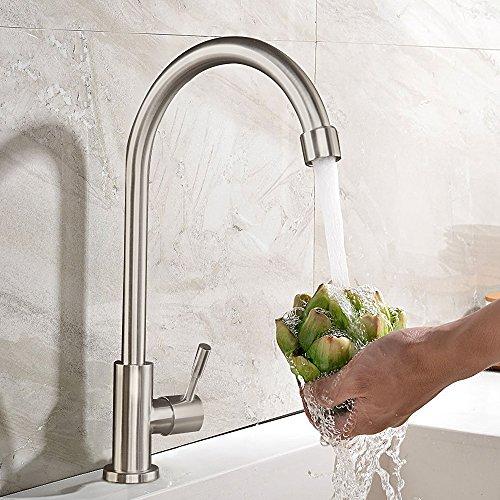 Kinse® Zeitgenössig Gebürstet 360°Drehbar Kaltwasserarmatur Küchearmatur aus SUS304 Edelstahl mit ABS Bubbler Kann Wasser 30% Sparen für Küche Waschbecken Kaltwasser
