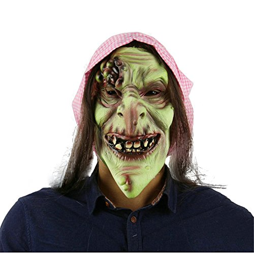 Halloween Masken Perücken Natürliches Latex Horror Alte Hexe Kostüm Zubehörteil