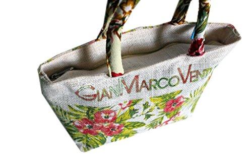 Borsetta mare Gian Marco Venturi l.flowers donna moda mare 43442 bianco
