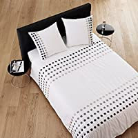 Madura Juego de cama con estampado de cuadrados, blanco y gris, 140 x 200 cm drap housse 90 x 200 cm