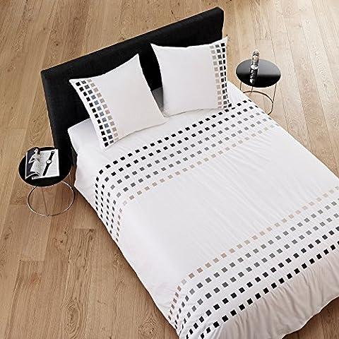 Madura Parure de Lit Square Housse de Couette 140 x 200 cm + Drap Housse90 x 200 cm + 1Taie d'OreillerCarrée Blanc et Gris