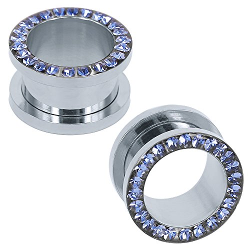 ZeSen Jewelry Acciaio inossidabile 316L con strass di cristallo tappi per le orecchie Tunnel Orecchio Indicatori espansori Corpo penetrante Blu, 4g (5mm) Blu