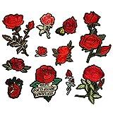 Dsaren 11 STK Stickerei Aufnäher Rose Patches Zum Aufbügeln Blumen Nähen Aufkleber für T-Shirt Jeans Kleidung Hut Schuhe Dekor (B)