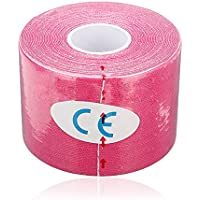 Sonline 1 Musculos Rollo Deportes Kinesiologia Cuidado de fitness atletico Salud cinta 5M * 5CM - Rose Red