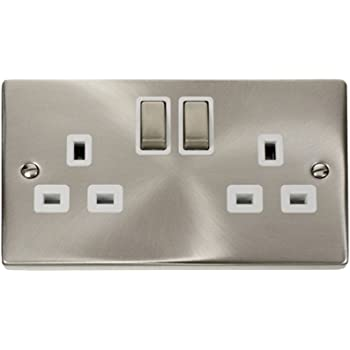 Click VPSC536BK Chrome Double Socket With Black Inserts Switched Sockets