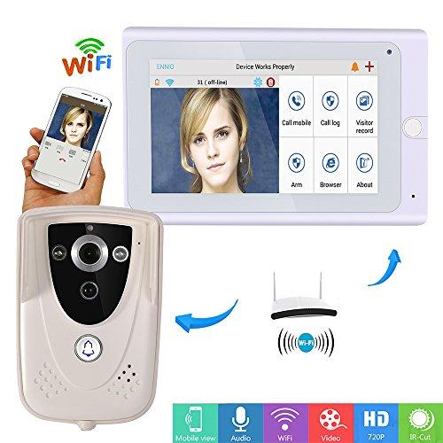 """Preisvergleich Produktbild ZY 720P 7""""WiFi Wireless Video-Türsprechanlage Walkie-Talkie Türklingel IP-Kamera PIR Infrarot-Nachtsicht"""