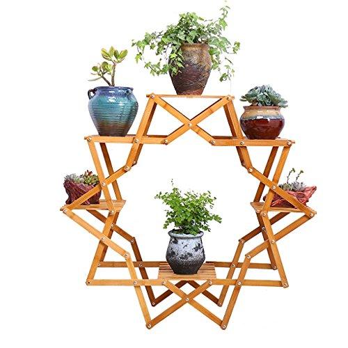 Creative Bambou Balcon Fleur Rotin Salon Intérieur Plantes Pots Continental Multi-étagé Multi-viande Plateau