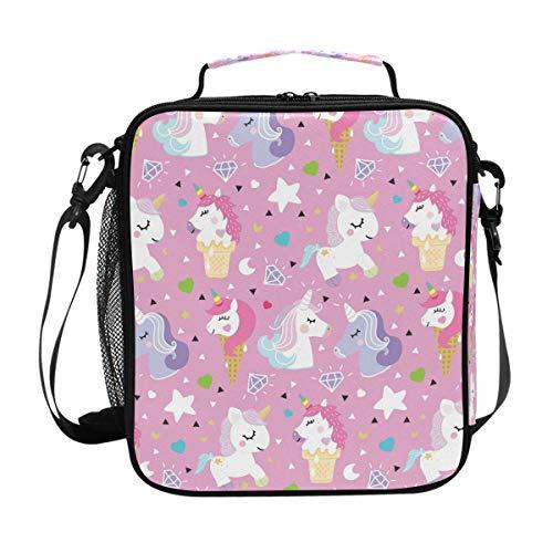 JSTEL Lunchtasche Einhorn Pony Eis Handtasche Lunchbox Lebensmittelbehälter Gourmet Bento Coole Tote Kühltasche Warm Tasche für Reisen Picknick Schule Büro