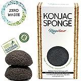 Konjac Schwamm Bambuskohle für Unreine fettige Haut - (2stück), Biologisch Abbaubar, Nachhaltiger Schwamm, vegan, zero waste, plastikfrei