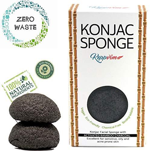Keppvim - Éponge Konjac visage Bio Charbon de Bambou - actif végétalien vegan exfoliante - biodégradable- Lot de 2