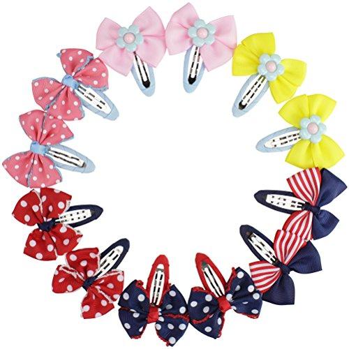 Graziosi fermagli per capelli per bambine e ragazze, con fiocco in nastro grosgrain, accessori eleganti per abbigliamento bows-12pcs Taglia unica
