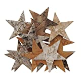 Holz, BIRKE, Rinde, Dekostreu STERN flach. Ca 8 cm, 24 Sterne.