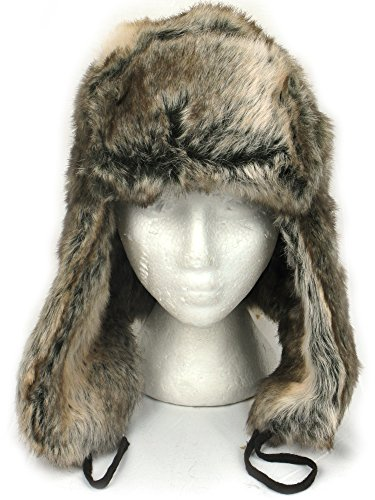 RUSSIAN STYLE TRAPPER HAT in SILVER BROWN FAUX FUR Warm for Winter