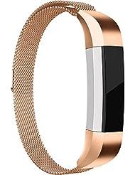 Fitbit Alta Correa, HUMENN Fitbit Alta HR Milanés Loop Ajustable Pulsera de Acero Inoxidable Repuesto con Cierre Magnético para Fitbit Alta / Alta HR (6.5--9.1 Pulgada) Oro rosa