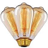 Edison Vintage Glühbirne, CMYK Edison Glühbirne E27 40W Warmweiß Dimmbar Retro Glühbirne Vintage Antike Lampe Ideal für Nostalgie und Retro Beleuchtung im Haus Café Bar usw--3 Stück