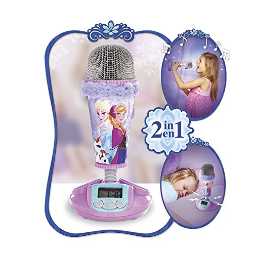 Disney Frozen 2 in 1 Wecker + Mikrofon Kinderwecker Uhr Die Eiskönigin Anna ELSA Sven Olaf