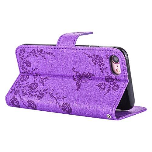 mo-beauty ® iPhone 7floreale Custodia a portafoglio in pelle PU [Free protezione per lo schermo in vetro temperato], con cinturino da polso, con Glitter strass floreale farfalla Custodia a portafogli Purple