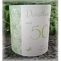 4er Set Tischlicht Tischlichter Schmetterlinge runder Geburtstag 40 50 60 70 80 90 Tischdeko personalisierbar grün