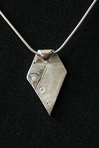 Silk-Ribbon Textured fine silver pendant