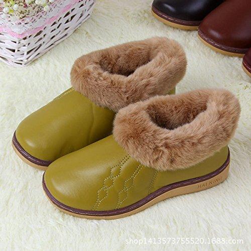 Nouveau Sac Avec Épais Fin Hiver Coton Pantoufles PU Broderie Accueil Chaussures Couple Hiver Chaud Tendon Tendon,Coffee Grassyellow