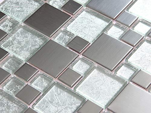 Klein Muster ca 10cm x 10cm Glas und Gebürstet Edelstahl Mosaik Fliesen Silber mit Steinen in Zwei Größen (MT0048 Muster)