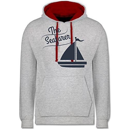 Schiffe - The Seafarer Segelboot - Kontrast Hoodie Grau Meliert/Rot