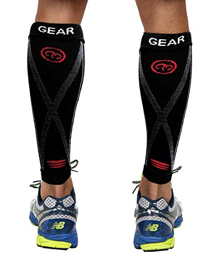 51Cri0uDvAL - Camari Gear fasce di compressione per polpacci (PAIR) - Nero - Compression Sports Calf Sleeves - Black - Calf Guards For Running, Walking, Jogging, Cycling, Sports Recovery, Work, Flight, Medical