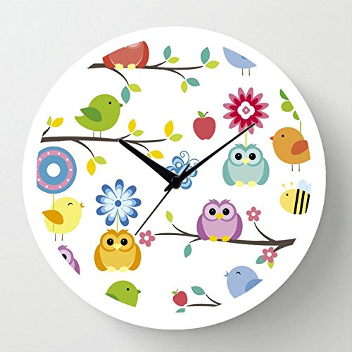 Cartoonpur Analog White Round 11 Inch Cute Owls on Branch Silent Movement Non Ticking Kids Wall Clock with Glass
