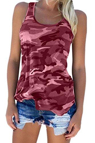 Frau Sommer Casual Locker Camouflage - T - Shirt - Tank Top - Tee Und Größe WineRed M