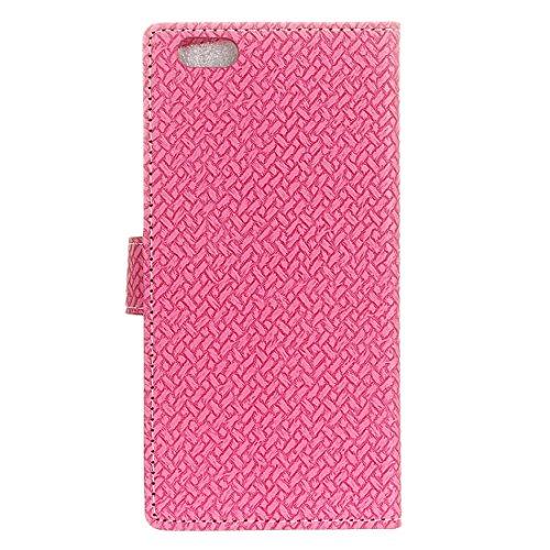 Phone case & Hülle Für iPhone 6 Plus / 6s Plus, Weaving Texture Horizontale Flip PU Ledertasche mit Magnetschließe & Halter & Card Slots & Wallet & Photo Frame ( Color : Grey ) Magenta