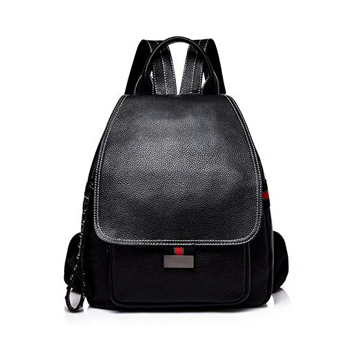LMAZG Damentasche Lederrucksack Softleder Freizeithandtasche, schwarz